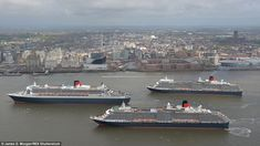 Monday, May 25 marks the first time that Cunard's three ship fleet gathered together in such a spectacular fashion