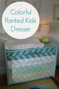 This was a plain wooden dresser, but some painters tape a handful of paint samples later and its a bright colorful accent to the kids room.