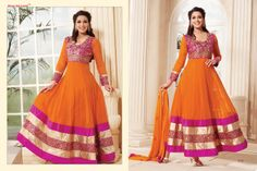 Stunningly Beautiful Orange colored Georgette Anarkali with awesome Embroidery work en-crafted in Multicolored. Comes along with Matching Shantoon Bottom and Chiffon Duppatta finely Embroidered.