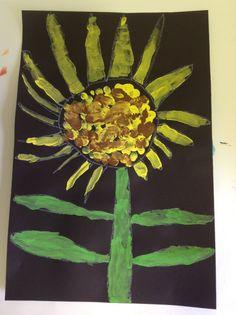 Kindergarten sun flowers; finger prints in the middle!