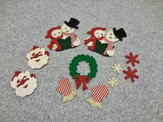 11 Piece Vintage Christmas Felt Santa Snowman Snowflakes Mittens Wreath Vintage Trimming Applique Set by RSWVintage on Etsy https://www.etsy.com/listing/242477007/11-piece-vintage-christmas-felt-santa