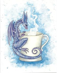 Amy Brown Print Note Card Fairy Whatcha Drinkin Dragon Baby Coffee Cup Mug | Collectibles, Fantasy, Mythical & Magic, Fairies | eBay!