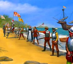 Spanish explorers and conquistadores landing in the New World