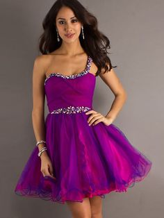 A-line One Shoulder Beading Tulle Short/Mini Prom Dress at Millybridal.com