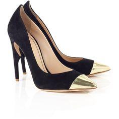 Jerome C. Rousseau Black Suede Flicker Pumps (725 BRL) ❤ liked on Polyvore featuring shoes, pumps, heels, sapatos, saltos, black, black pointed-toe pumps, black stiletto pumps, pointed-toe pumps and black stilettos