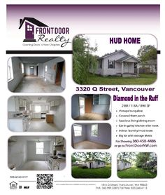 Real Estate for sale at $95,000! Come and view this two bedroom, one bath, 890 square foot one level vintage Bungalow HUD Home on .14 acre lot located at 3320 Q Street, Vancouver, Washington 98663 in Clark County area 12 which is The NW Heights area in Vancouver. The RMLS number is 16043777. It does not have a fireplace nor a view. It was built in 1918 and the local high school is Hudsons Bay High. The annual taxes due are $1,431.01. It is not a short sale but is a bank owned property…