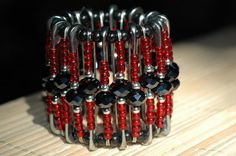 Black and Red Safety Pin Bracelet by frayed997 on Etsy, $20.00