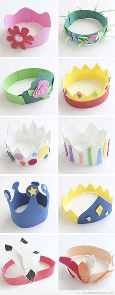 Coronas de foamy para niños en carnaval y cumpleaños