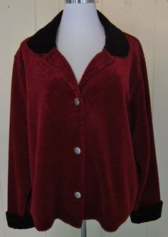 Coldwater Creek Women's XL Red Black Soft Fleece Button Pockets Jacket #ColdwaterCreek #FleeceJacket
