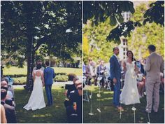 Love the bride's dress & the daisy chains hanging from the tree at this relaxed French Chateau Wedding