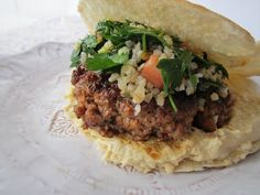 Baharat Spiced Burger with homemade Hummus and Tabouleh