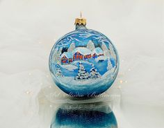 CHRISTMAS ORNAMENT Winter landscape by Bettineum on Etsy