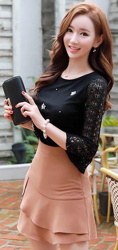 StyleOnme_Frill A-Line Mini Skort #beige #skirt #pants #ruffle #koreanfashion #kstyle #kfashion #feminine #prefall #dailylook