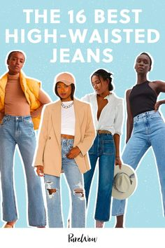 We reached out to real women across the country, with all different body types and denim preferences, to figure out what the best high-waisted jeans are. Here are 16 pairs that made the cut. #jeans #highwaisted #pants Wide Leg Jeans, High Waist Jeans, Skinny Jeans, Big Thighs, Petite Jeans, Small Waist, Real Women, J Brand, Jeggings