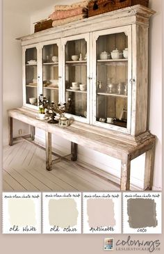 Colorways with Leslie Stocker » Country Sideboard provides inspiration for a soft white Annie Sloan Chalk Paint®️️ color palette. Old White, Old Ochre, Antoinette, Coco