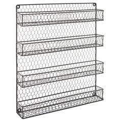 : 4 Tier Gray Country Rustic Chicken Wire Pantry, Cabinet or Wall Mounted Spice Rack Storage Organizer: Kitchen & Dining Spice Rack Storage, Wall Mounted Spice Rack, Wooden Spice Rack, Spice Organization, Pantry Storage, Kitchen Storage, Spice Racks, Chicken Coop Decor, Bathroom Wall Storage