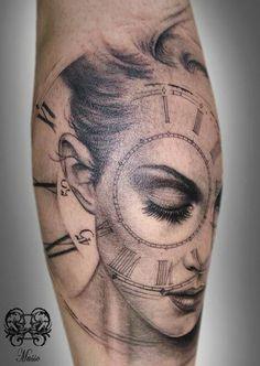 Custom clock/face, by Tattoo Artist Musso Tatuaje