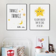 Modern Twinkle Stars Kids Typography Quotes Art Print Poster (Unframed)