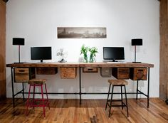 Eclectic Home Office by Urban Wood Goods...wooden boxes, wire baskets under desk