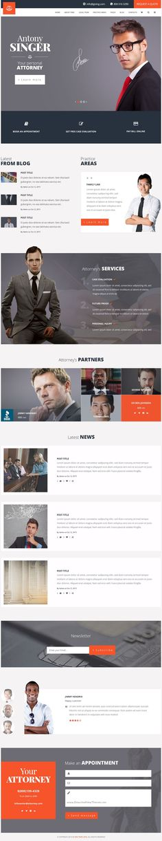 Attorneys is a premium #PSD template for law firm, personal #lawyer website, financial #adviser or small business accountant website with 3 unique homepage layouts and 17 layered PSD pages download now➯ https://themeforest.net/item/attorneys-law-firmprivate-lawyer-psd-template/16894535?ref=Datasata