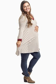 Give your favorite florals a break this fall season and switch them out for a classic striped plus size maternity top that can be styled day or night these cool months. Mix and match your seasonal favorites for effortless chic everyday wear.
