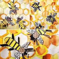 2nd grade Bees in a Hive- 2 week project. Week 1 tracing hexagon pattern blocks with brown crayons, adding yellow and gold oil pastels, and yellow, orange, and brown watercolor. Week 2 drawing bees with sharpies, coloring with crayon, cutting and gluing to the hive. I think they are sweet as honey!