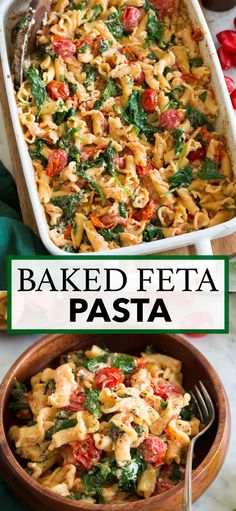 Baked Feta Pasta! This popular dish is made with roasted tomatoes, creamy lightly tangy feta, al dente pasta, and fresh spinach and herbs. One of the easiest and tastiest recipes! Recipe on cookingclassy.com. Potluck Recipes, Entree Recipes, Casserole Recipes, Pasta Recipes, Beef Recipes, Dinner Recipes, Cooking Recipes, Feta Pasta, Tasty