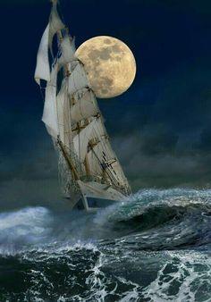 Tall Ship, Full Moon, Active Sea.