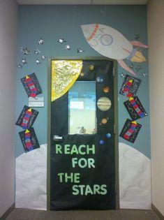Space theme classroom door