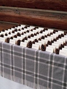 Cheap guest card idea for winter wedding. I already have a ton of plaid scarves to choose from!