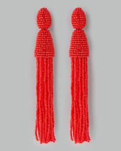 Beaded Long Tassel Earrings, Cinnabar by Oscar de la Renta at Neiman Marcus.
