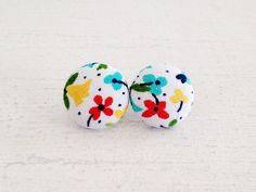 Button Earrings  Devyn Fabric Button Post by TheHosfordHousewife