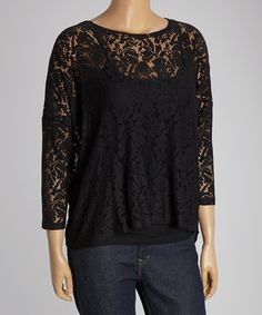 Another great find on #zulily! Black Lace Crewneck Top - Plus by Dantelle #zulilyfinds