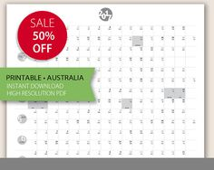 2017 PORTRAIT Wall Planner Australia. Printable Large Calendar A1 size.  OrganiserYearly Family Calendar. Small Business Planner. Life Goals
