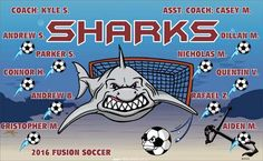 Sharks B51978  digitally printed vinyl soccer sports team banner. Made in the USA and shipped fast by BannersUSA.  You can easily create a similar banner using our Live Designer where you can manipulate ALL of the elements of ANY template.  You can change colors, add/change/remove text and graphics and resize the elements of your design, making it completely your own creation.