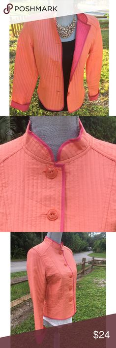 J.H. Collectibles Lightweight Silk Jacket Orange lightweight silk jacket by J.H. Collectibles. This jacket buttons up the front and is trimmed in pink. The cuffs can be worn down or turned up to show the pretty pink lining. 100% silk exterior & 100% polyester lining - dry clean only. J.H. Collectibles Jackets & Coats