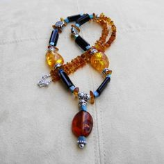 Amber Turquoise Agate Necklace Southwest by MoonlightAndFire, $52.00