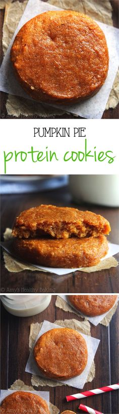 Pumpkin Pie Protein Cookies -- these skinny, protein-packed cookies don't taste healthy at all! Just 78 calories & 100% acceptable for breakfast!