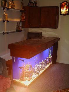 L shaped bar aquarium a modern hi gloss l shaped for Fish tank bar