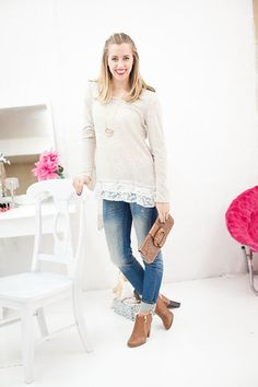 We're obsessed with the lace layers on the hem. It's the perfect contrast when paired with the solid beige of the shirt. Add a statement necklace for a fun twist on this timeless tee! Down To The Last Detail Tunic - My Sisters Closet