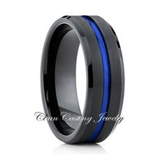 Blue Tungsten Wedding Band    By: Clean Casting Jewelry