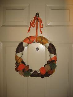 Argyle Autumn Yarn Wreath