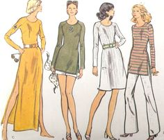 Dress Pattern Tunic Pants Shorts Retro Vogue 8280 by WildPlumTree, $5.00