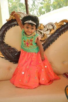 Aadhya sampriti in beautiful mirror work lehanga with green blouse .