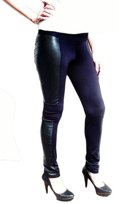 Look sleek and sexy in the luxurious Perforated Leather Panel Leggings now $175    www.LindenCA.com