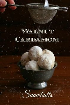 Tender and sweet, these Walnut Cardamom Snowballs are the perfect holiday dessert recipe! Whether you call them Russian Tea Cakes, Mexican Wedding Cakes or Snowballs, these are sure to please your Christmas guests! Low Carb Sweets, Low Carb Desserts, Low Carb Recipes, Tea Cakes, Holiday Baking, Christmas Baking, Christmas Cookies, Cookie Recipes, Dessert Recipes