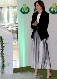 16 May 2017 - Princess Mary opens Arla Foods Innovation Centre in Aarhus - jacket by Helmut Lang, blouse by Hugo Boss, skirt by Designers Remix, shoes by Gianvito Rossi