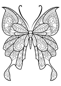 This adult coloring book with beautiful butterfly pictures to color is very easy to use. Multiple color palettes and a personal gallery of your own works, along with calming, relaxing background music, make this anti stress coloring book for adults a. Butterfly Coloring Page, Mandala Coloring Pages, Animal Coloring Pages, Coloring Pages To Print, Free Printable Coloring Pages, Free Coloring Pages, Coloring Books, Coloring Sheets, Kids Coloring
