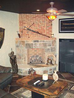 brick fireplace basement renovation basement renovation #basement #renovation