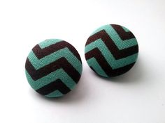 Light teal and brown chevron button earrings by ButtonUpp on Etsy, $6.00